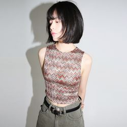 stagger pattern crop top (2colors)