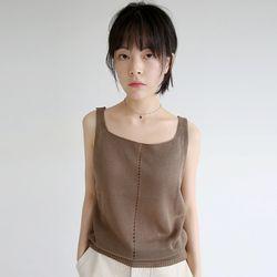 net loose sleevless top (khaki)