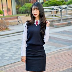 [빅사이즈] 네이비 화이트라인 교복조끼(여자) 4XL