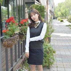 [빅사이즈] 보풀방지 차콜 교복조끼(여자) 4XL