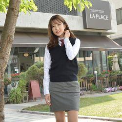[빅사이즈] 보풀방지 네이비 교복조끼(여자) 4XL