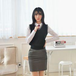 [빅사이즈] 블랙 화이트라인 교복조끼(여자) 4XL
