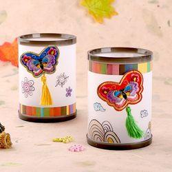 나비자수 원형꽂이(4개)연필꽂이전통