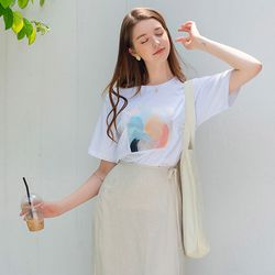 페인팅 프린트 티셔츠