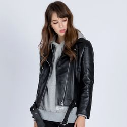 W.REAL LAMBSKIN BELTED RIDERs JACKET (BLACK)