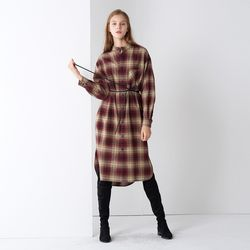 COTTON CHECK SHIRTS ONE-PIECE WINE