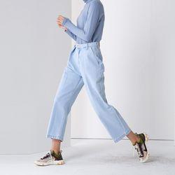 WIDE TUCK DENIM PANTS BLUE