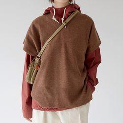 soft lamb texture knit vest (2colors)
