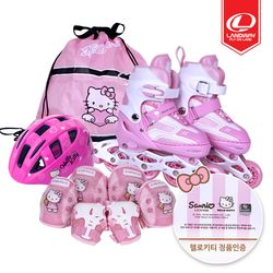 헬로키티 큐티 인라인+헬멧+보호대+가방 풀세트