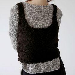 square knit texture top (2colors)