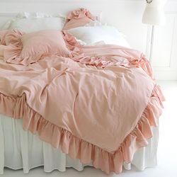 빈티지 무드 프릴 침구셋트-핑크(퀸 기본셋)