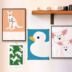 유니크 디자인 인테리어 포스터 M 동물농장 15종 모음 A3(중형)