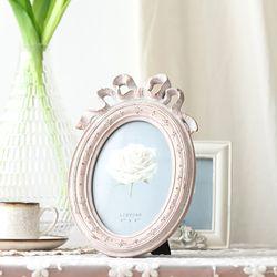 빈티지 핑크 리본액자 4x6