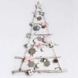 크리스마스 행잉 우드 벽트리 핑크