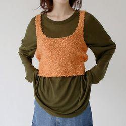 square knit texture top (orange)