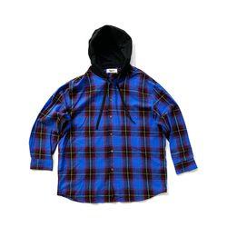 체크 후디셔츠 블루 Check Hoodie Shirt blue