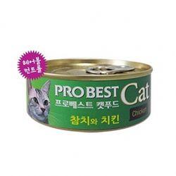 고양이간식 프로베스트 캣푸드 캔 80g(참치와치킨)