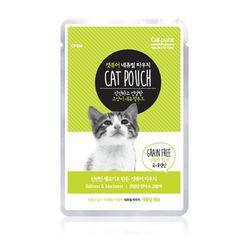 고양이간식 캣퓨어 내추럴 파우치 80g(건강한연어&고등어)