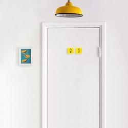 미니 옐로우 우드 도어사인 사각형 7x7cm