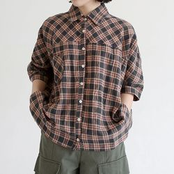vintage check loose shirts (brown)