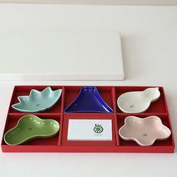 사이카이 종지 5p 세트 선물용 케이스 포함