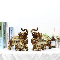 골드브라운 코끼리장식품 OEL001BR 4P SET 인테리어소품
