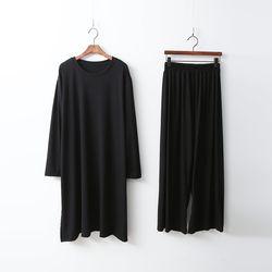 [Set] Easy Long Tee   Wide Pants
