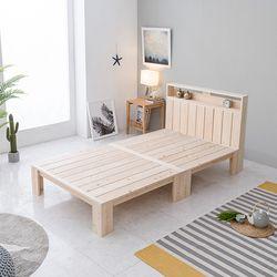 홈잡스 편백나무 원목 선반헤드 평상 침대 슈퍼싱글