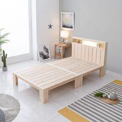홈잡스 편백나무 원목 LED조명 선반헤드 평상 침대 슈퍼싱글