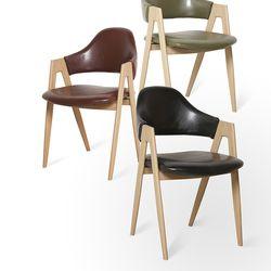 이자벨 레더 의자 식탁의자 (블랙와인카키) IS02