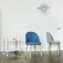 졸리 패브릭 체어 식탁의자 (그레이인디블루) JL01