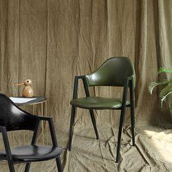 조셉 레더 의자 식탁의자 (블랙와인카키) JS03
