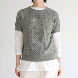 half sleeve knit top (khaki)