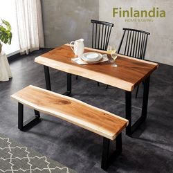 핀란디아 몽키포드 우드슬랩 4인식탁세트(의자2+2인벤치)