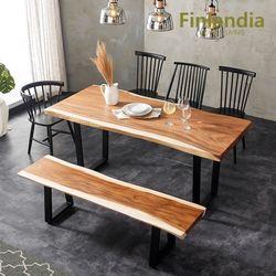 핀란디아 몽키포드 우드슬랩 6인식탁세트(의자4+3인벤치)