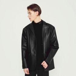 레더 오버핏 싱글 자켓