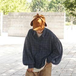 오버핏 벌륜소매 감성타탄체크셔츠남방n904