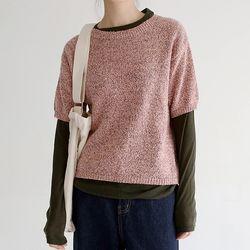 mix material half knit (3colors)