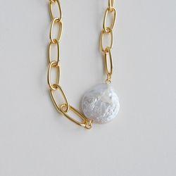 볼드 체인 진주 목걸이 bold chain pearl necklace