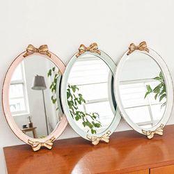 골드 리본 앤틱 쟁반 거울(3color)