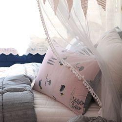 큐트냥이 세미항균 베개커버 핑크