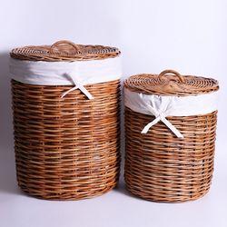 라탄 홍등 원통 세탁 바구니(2size)