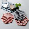 컵받침 냄비받침 실리콘 멀티디자인받침  정육각형 3개 set