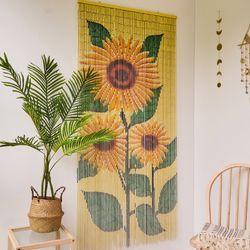 대나무 커튼 발 인테리어 벽장식 - 해바라기
