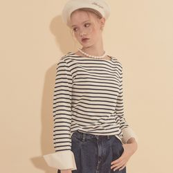 Stripe Cuffs T Dark Blue