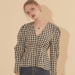 Puff Shoulder Blouse Gingham Check