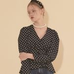 Navy Puff Shoulder Blouse Dot