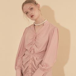 Tencel Shirring Blouse Pink