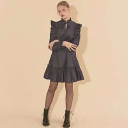 Denim Ruffle Mini Dress