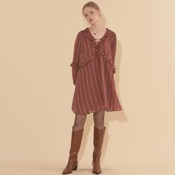 Chiffon Shirring Dress Red Brown